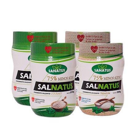 KIT 02 Salnatus Gourmet 75% Menos Sódio 250g + 02 Salnatus Premium 75% Menos Sódio 250g