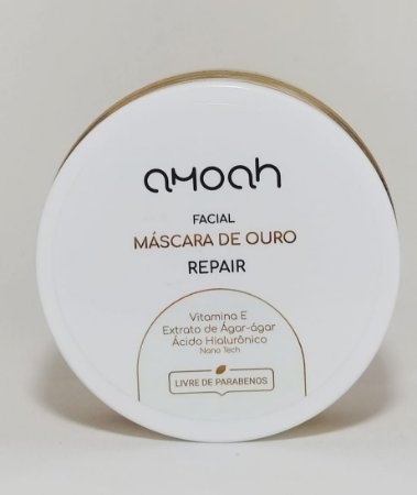 Máscara Facial de Ouro Nano com 4 Ativos Vegana 100g AMOAH