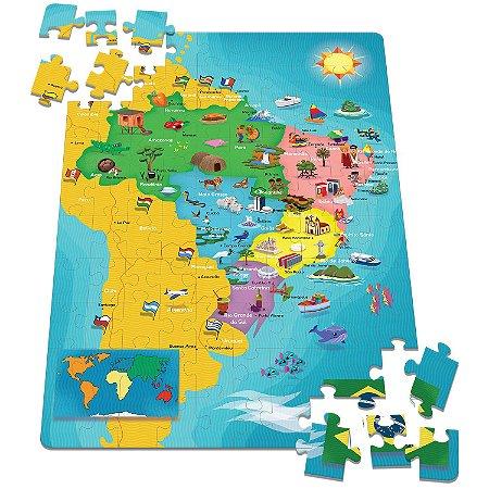 Mapa do Brasil - Quebra-Cabeça - 100 peças