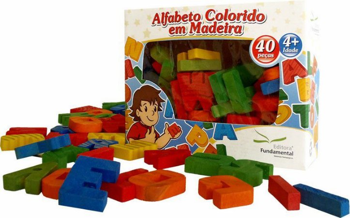 Alfabeto Móvel Colorido em Madeira
