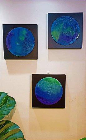 Trio de Quadros Blue Dream