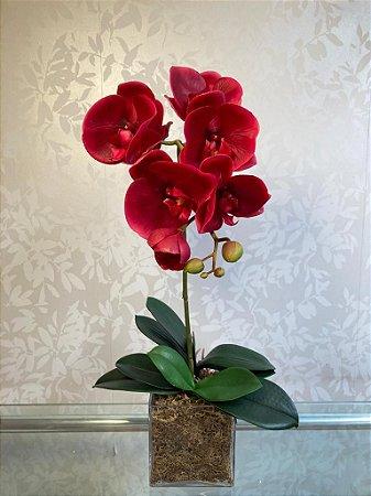 Arranjo Permanente de Orquídea Vermelha