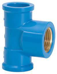 Tê Azul Soldável com Bucha de Latão Amanco