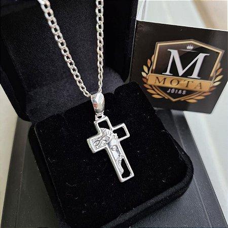 Pingente Prata 925 Cruz Com Face de Cristo