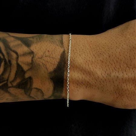 Pulseira Prata 925 Cadeado Fina 1mm