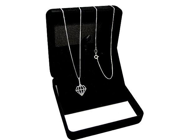 Corrente Veneziana 70cm (1mm) + Pingente de Diamante