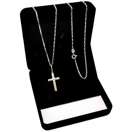 Corrente Tijolinho Prata 925 (1,5mm) 70cm + Pingente Crucifixo com Relevo