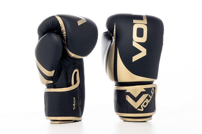 Luva de Boxe/Muay Thai Vollo Preta/Dourada 14 Oz Lançamento