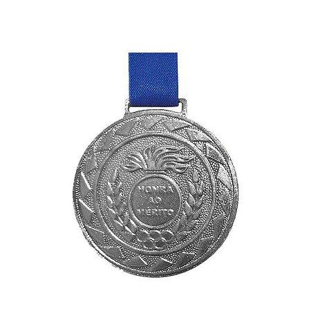 Medalha de Prata M43 Esportiva Honra ao Mérito Com Fita Azul Crespar