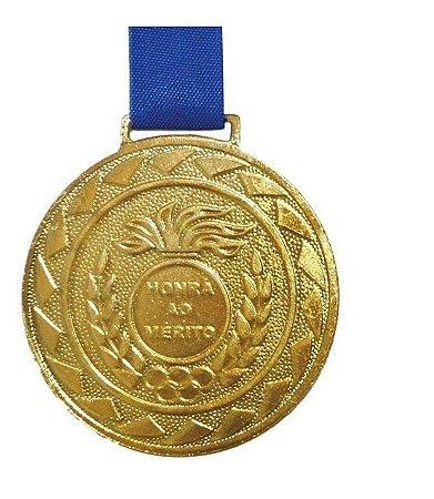 Medalha de Ouro M50 Esportiva Honra ao Mérito Com Fita Azul Crespar