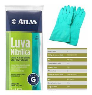 LUVA NITRILICA VERDE  AT1302 - ATLAS