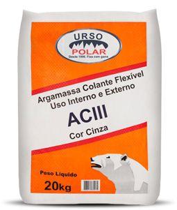 ARGAMASSA COLANTE INTERIOR/EXTERIOR ACIII 20KG CINZA - URSO POLAR