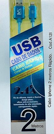 CABO USB CARREGADOR DE CELULAR PARA IPHONE 2.4 MAX-0121