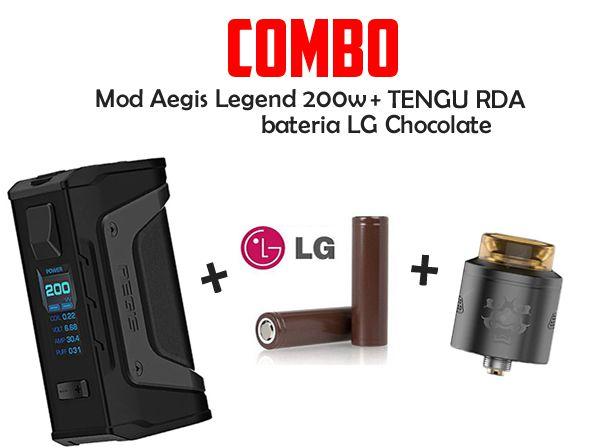 MOD Aegis Legend 200w + 2 Baterias LG Chocolate + Atomizador TENGU RDA - Geek Vape