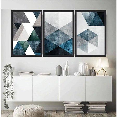 Quadro Abstrato Tons Azuis E Cinza
