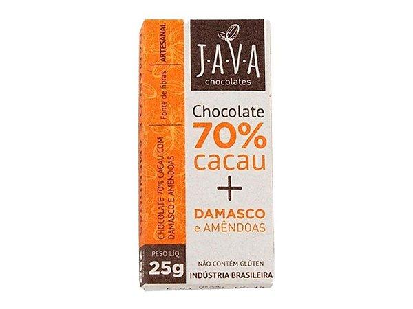 CHOCOLATE JAVA 70% CACAU DAMASCO E AMÊNDOAS 25G