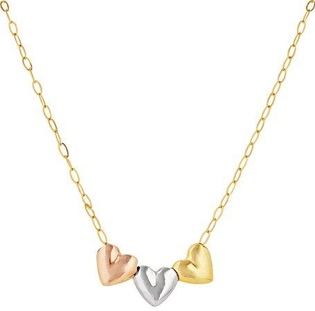 Gargantilha três corações tricolor Ouro 18k 750