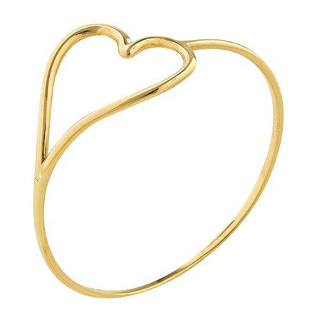 Anel coração vazado lateral Ouro 18k 750