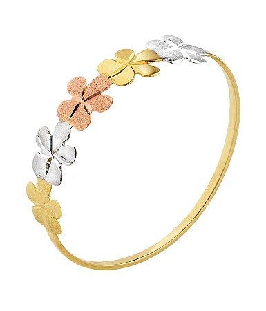 Anel flores tricolor ouro 18k 750