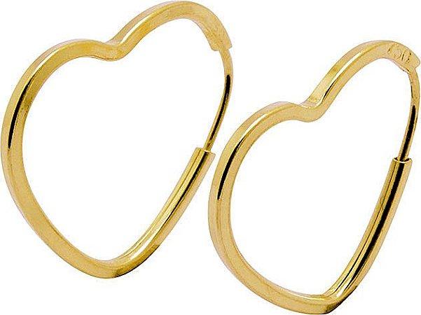 Brinco Argola Coração Vazado Infantil Ouro 18k 750
