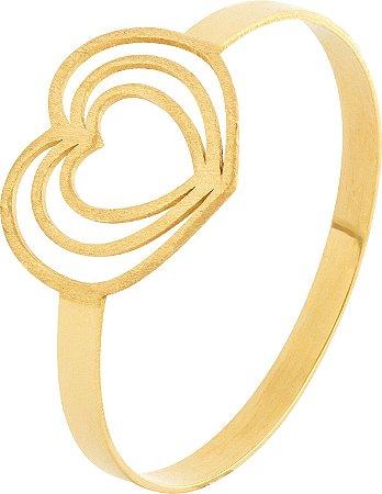 Anel Coração Vazado Ouro 18k 750