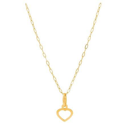 Gargantilha Mini Coração Vazado Ouro 18k 750