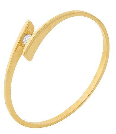 Anel Solitário Brilhante Ouro 18k 750