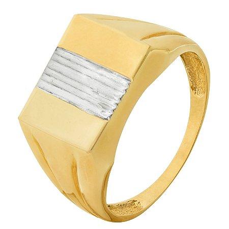 Anel Masculino Quadrado Tricolor Ouro 18k 750