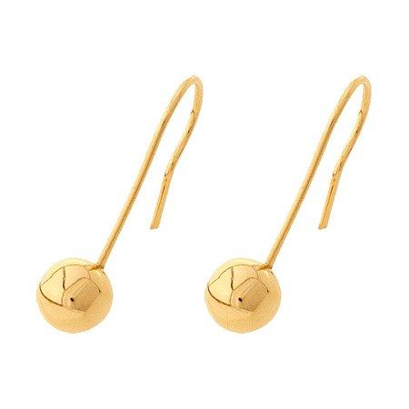 Brinco Bolinha Anzol Ouro 18k 750