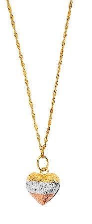 Gargantilha Coração Tricolor Ouro 18k 750