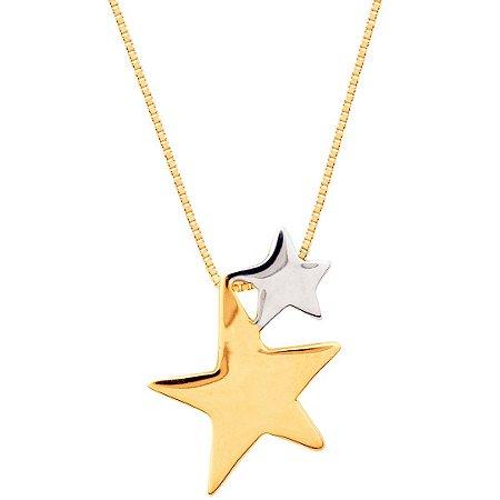 Gargantilha Estrelas Bicolor Ouro 18k 750
