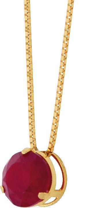 Gargantilha Pedra Natural Jade Vermelho   Ouro 18k 750