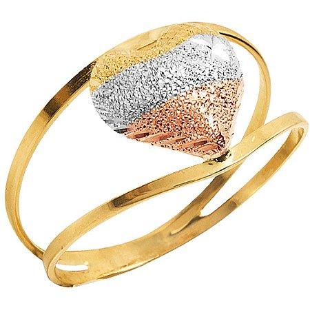 Anel Coração Bicolor Aro Duplo Ouro 18k 750
