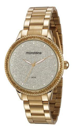 Relógio Mondaine Feminino Redondo Dourado 53675lpmvde1