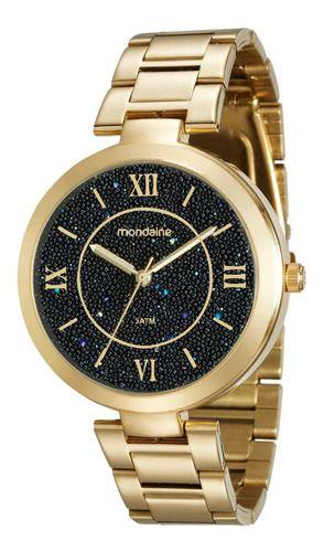 Relógio Mondaine Feminino Redondo Dourado 76615lpmvde2