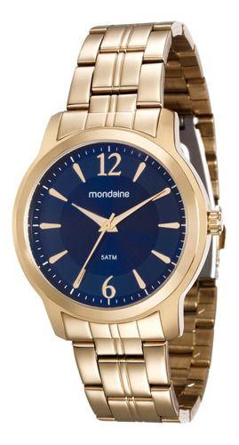 Relógio Mondaine Feminino Redondo Dourado 99017lpmvde1