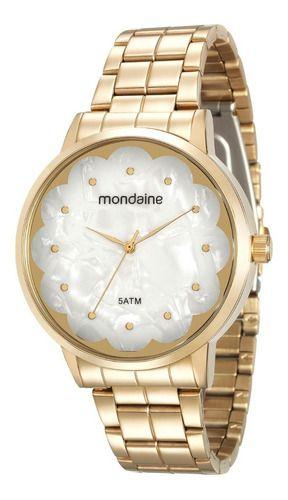 Relógio Mondaine Feminino Redondo Dourado 99145lpmvde1