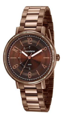 Relógio Mondaine Feminino Redondo Marrom 53677lpmvme2