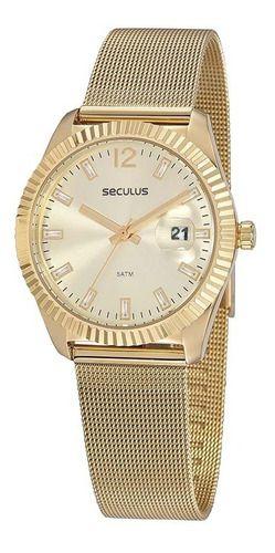 Relógios Seculus  Feminino Redondo Champagne 20870lpsvds1