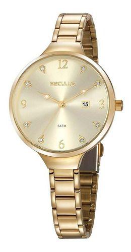 Relógios Seculus  Feminino Redondo Champagne 20885lpsvds1
