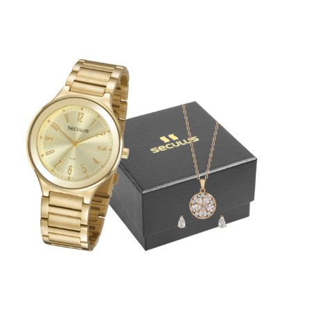 Relógios Seculus  Feminino Redondo Champagne 77074lpsvds1k1