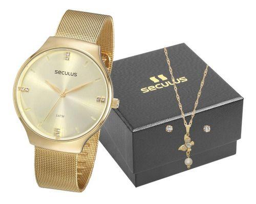 Relógios Seculus  Feminino Redondo Champagne 77076lpsvds2k1