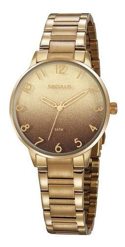 Relógios Seculus  Feminino Redondo Marrom 77070lpsvds3