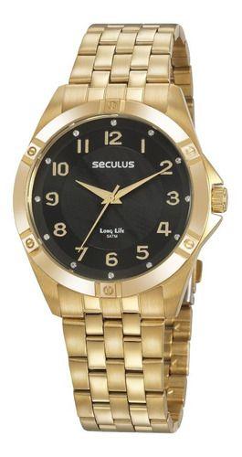 Relógios Seculus  Feminino Redondo Preto 20950lpsvda2