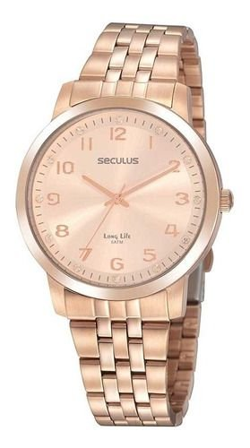 Relógios Seculus  Feminino Redondo Rose Gold 20895lpsvra2