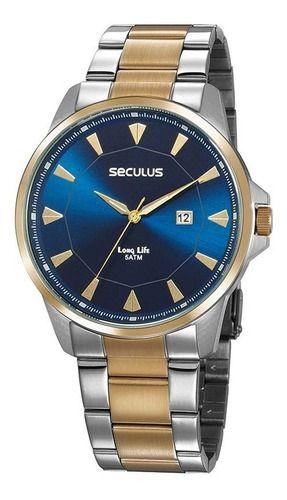 Relógios Seculus  Masculino Redondo Azul 20805gpsvba4