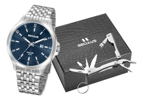Relógios Seculus  Masculino Redondo Azul 20899g0svna3k1