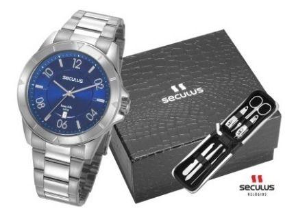 Relógios Seculus  Masculino Redondo Azul 77032g0svna2k2