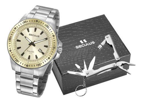 Relógios Seculus  Masculino Redondo Champagne 20849g0svna2k1