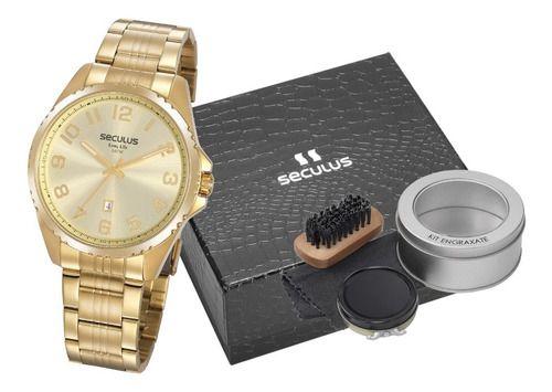 Relógios Seculus  Masculino Redondo Champagne 20855gpsvda1k1